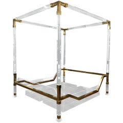 "Charles Hollis Jones Brass and Lucite ""Metric"" King-Size Poster Bed"