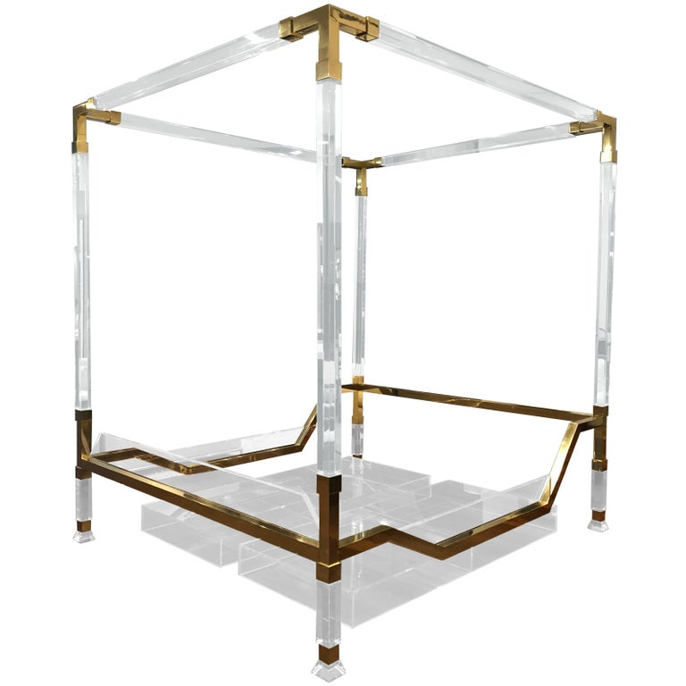 "Charles Hollis Jones Brass and Lucite ""Metric"" King-Size Poster Bed For Sale"
