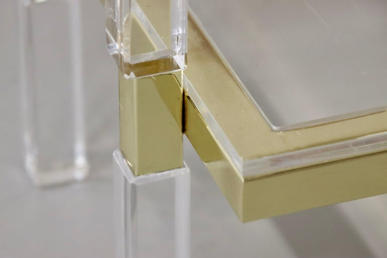 Charles Hollis Jones Brass and Lucite Tables For Sale 4
