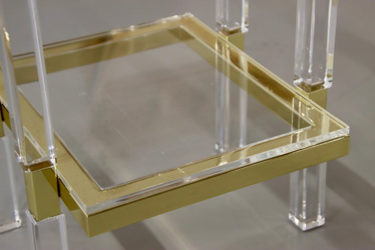 Charles Hollis Jones Brass and Lucite Tables For Sale 5