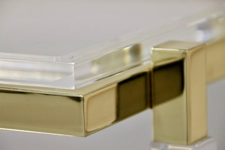 Charles Hollis Jones Brass and Lucite Tables For Sale 6