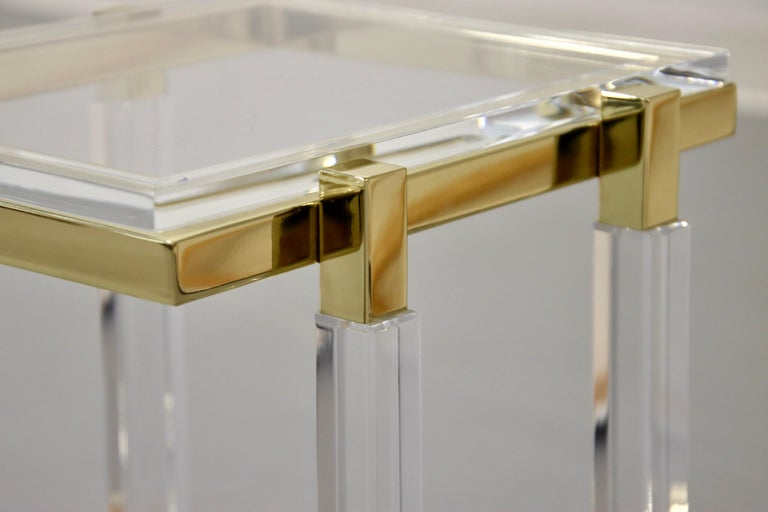 Charles Hollis Jones Brass and Lucite Tables For Sale 7