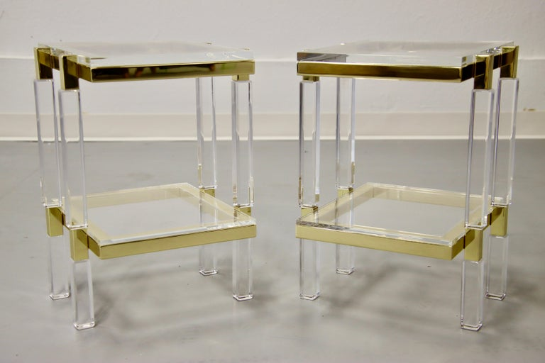 Charles Hollis Jones Brass and Lucite Tables For Sale 8
