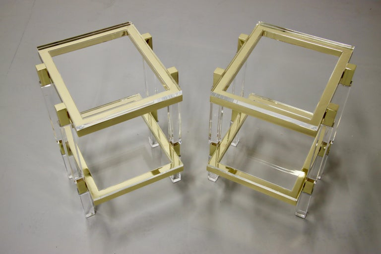 Charles Hollis Jones Brass and Lucite Tables For Sale 9