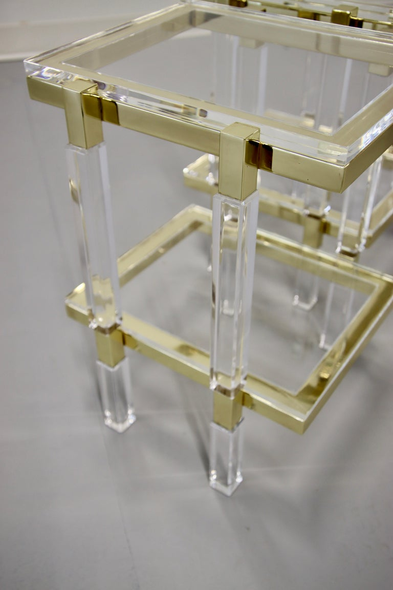 American Charles Hollis Jones Brass and Lucite Tables For Sale