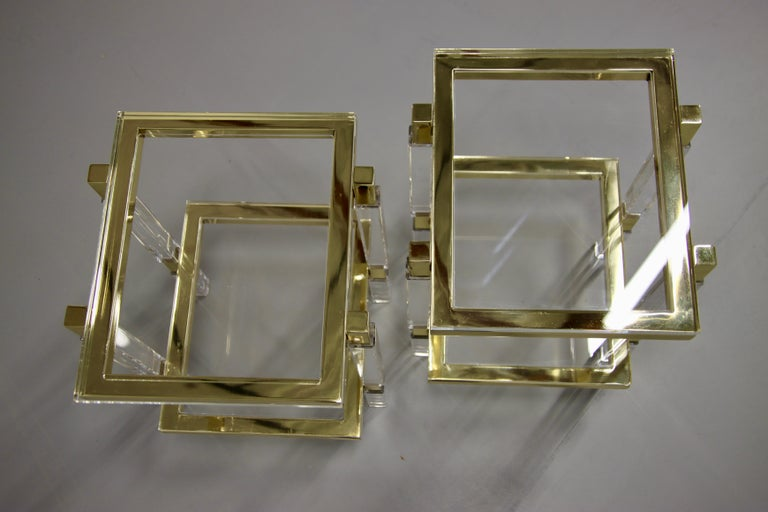 Machine-Made Charles Hollis Jones Brass and Lucite Tables For Sale