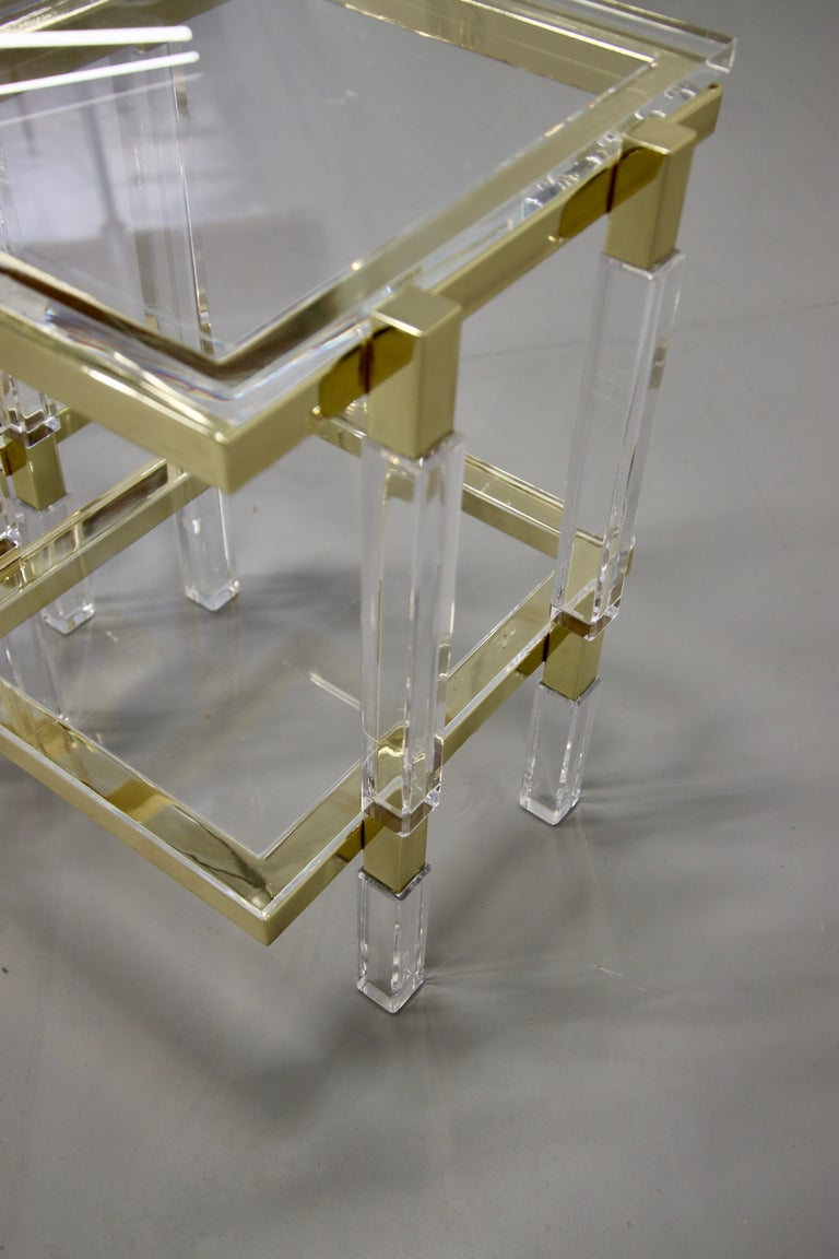 Charles Hollis Jones Brass and Lucite Tables In Excellent Condition For Sale In Palm Springs, CA