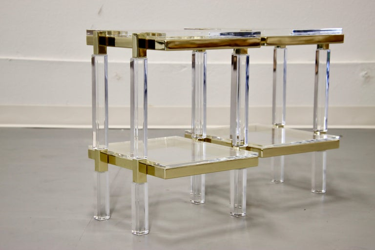 Contemporary Charles Hollis Jones Brass and Lucite Tables For Sale
