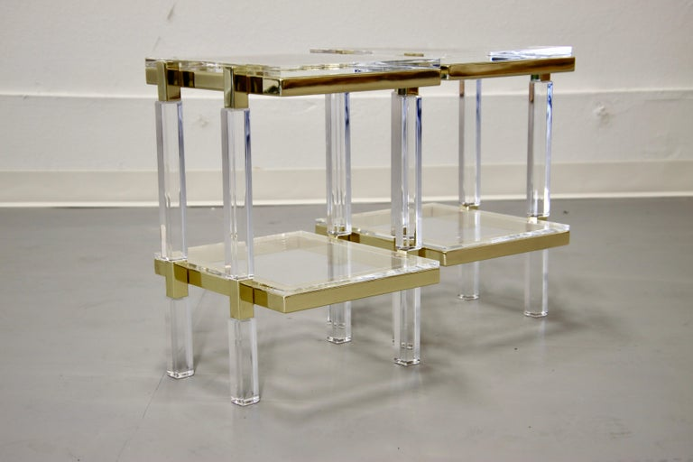 Charles Hollis Jones Brass and Lucite Tables For Sale 1