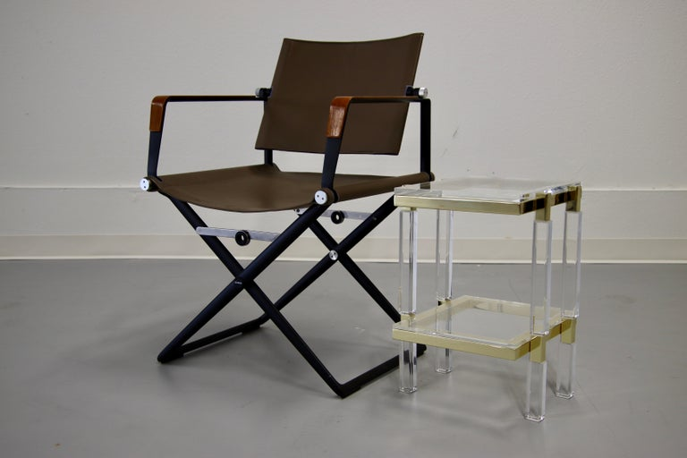 Charles Hollis Jones Brass and Lucite Tables For Sale 2