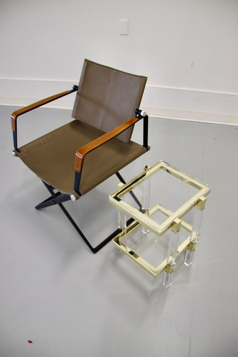 Charles Hollis Jones Brass and Lucite Tables For Sale 3