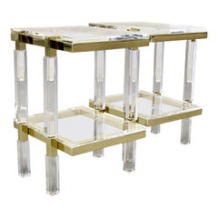 Charles Hollis Jones Brass and Lucite Tables