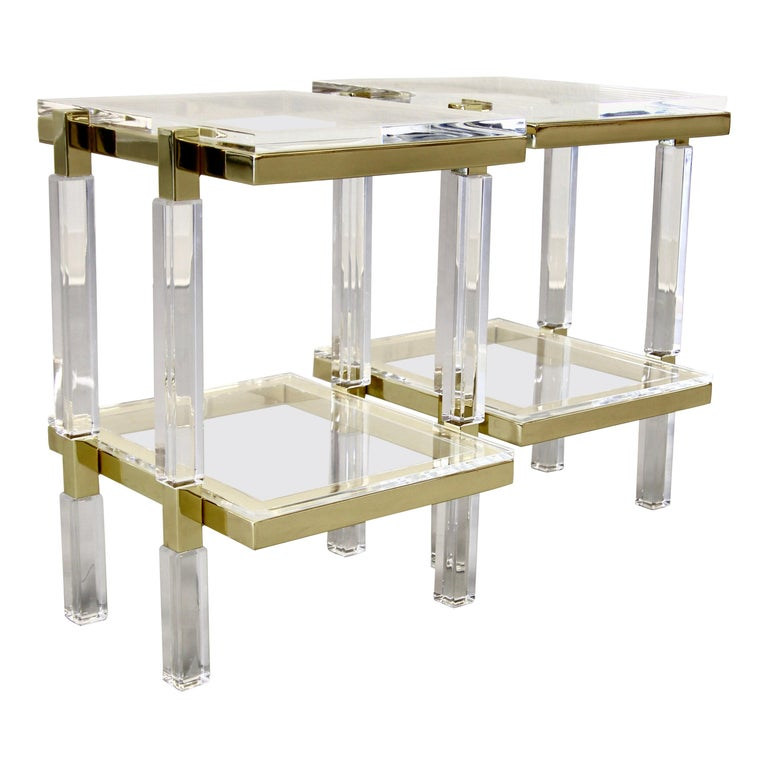 Charles Hollis Jones Brass and Lucite Tables For Sale