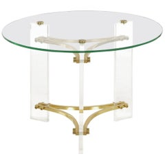 Charles Hollis Jones Brass, Glass and Lucite Accent Side Table, circa 1980s