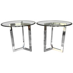 Charles Hollis Jones Chrome and Lucite Side Tables