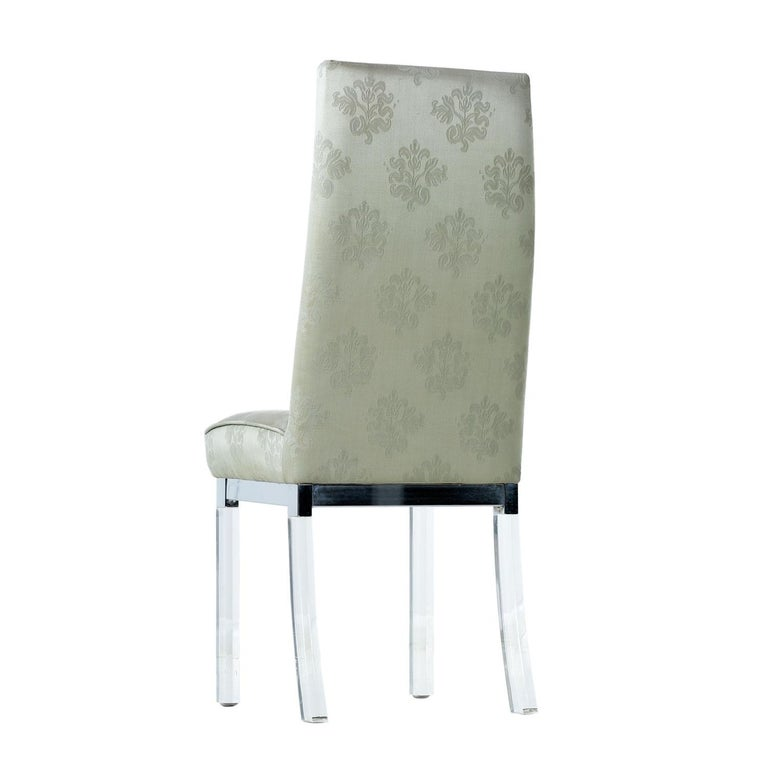 Mid-Century Modern Charles Hollis Jones Chrome Lucite Leg High Back Dining Chairs in Celadon Green For Sale