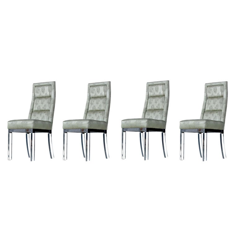 Charles Hollis Jones Chrome Lucite Leg High Back Dining Chairs in Celadon Green For Sale