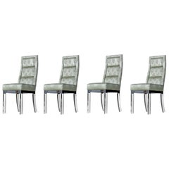 Charles Hollis Jones Chrome Lucite Leg High Back Dining Chairs in Celadon Green