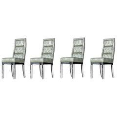 Charles Hollis Jones Chrome Lucite Leg High Back Dining Chairs in Celadon Green