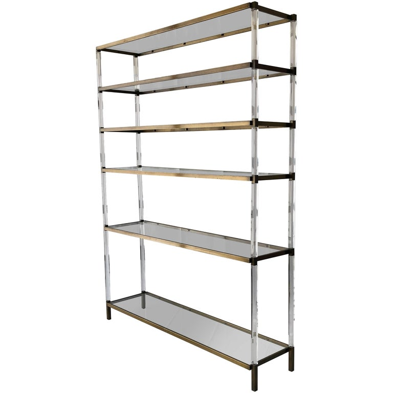 "Charles Hollis Jones Custom ""Metric"" Étagère/Shelving Unit in Lucite and Brass For Sale"