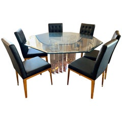 Charles Hollis Jones Dining Room Set with Black Leather Contemporary Six Chairs