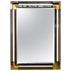 Charles Hollis Jones for Paul Laszlo Bronze Lucite Brass Mirror