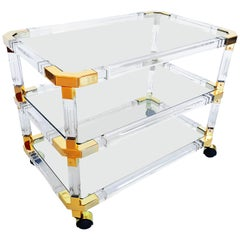 Charles Hollis Jones Lucite and Brass Bar Cart, 1970s