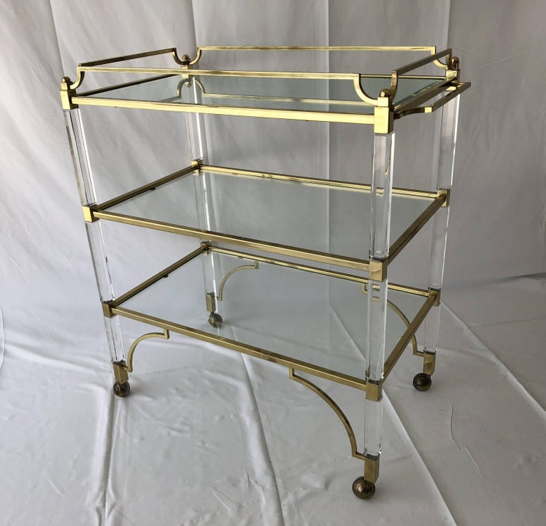 Mid-Century Modern Charles Hollis Jones Lucite and Brass