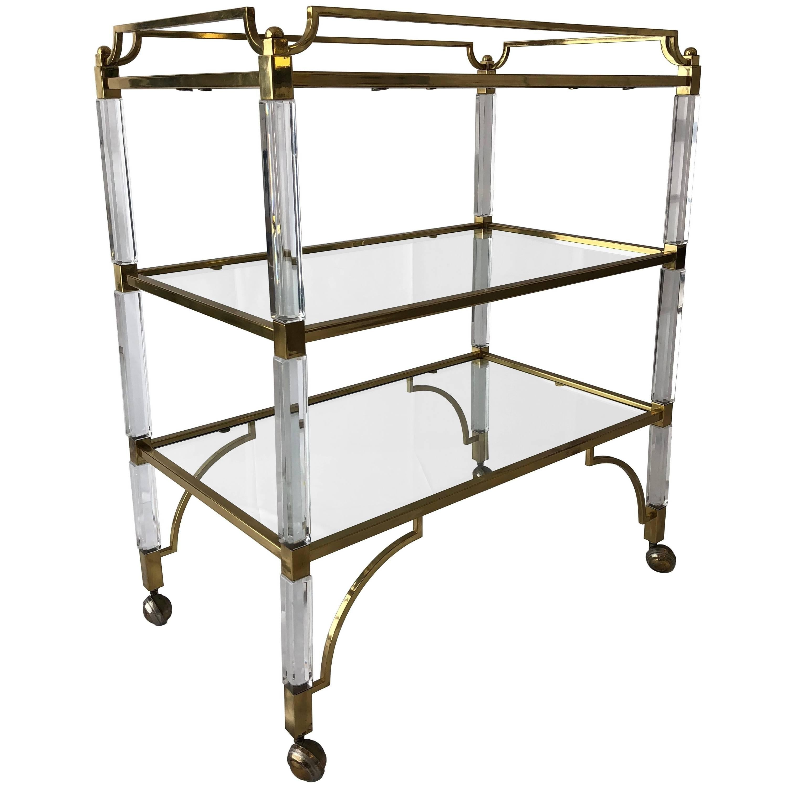 "Charles Hollis Jones Lucite and Brass ""Classic"" Bar/Serving Cart"