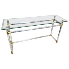 Charles Hollis Jones Lucite and Brass Console Sofa Table
