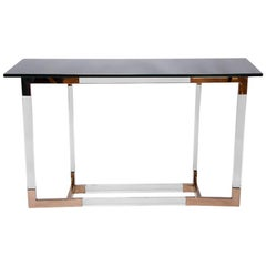 Charles Hollis Jones Lucite and Brass Console Table