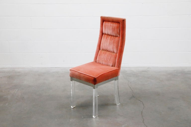 American Charles Hollis Jones Lucite and Chrome Dining Chairs, Set of Five For Sale