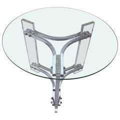 Charles Hollis Jones Lucite and Chrome Glass Top Table