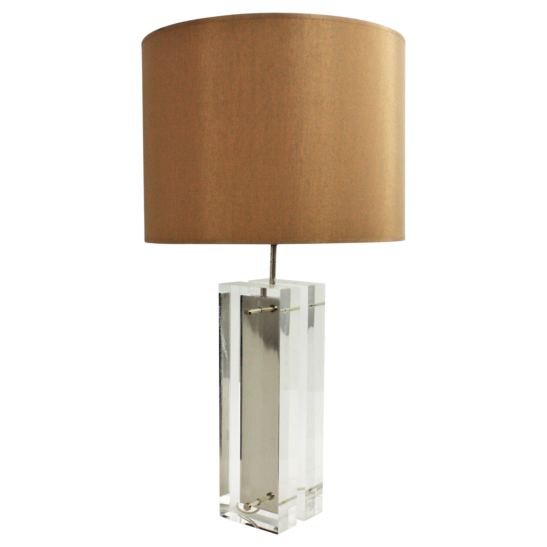 Charles Hollis Jones Lucite and Chromed Steel Midcentury Table Lamp