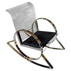 Charles Hollis Jones Lucite and Nickel Rocking Chair