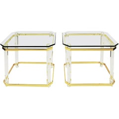"Charles Hollis Jones Lucite, Brass and Glass ""Clipped Corner"" Side Tables"