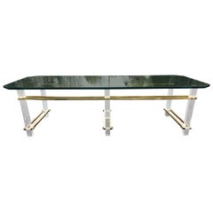 Charles Hollis Jones Lucite, Brass and Glass Coffee Table