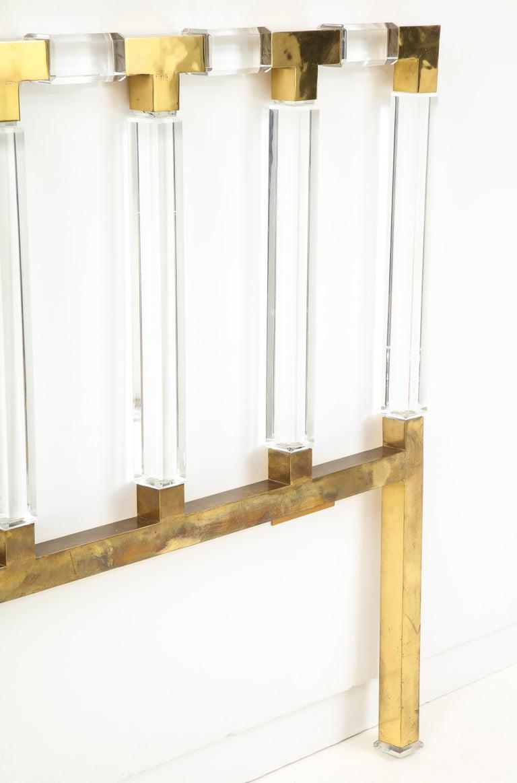 Charles Hollis Jones Lucite, Brass Headboard For Sale 2