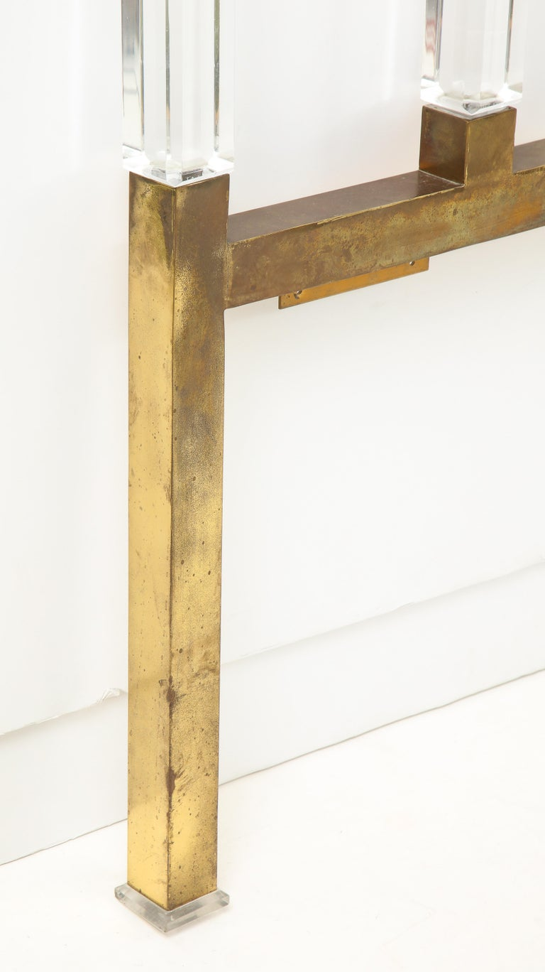 Charles Hollis Jones Lucite, Brass Headboard For Sale 3