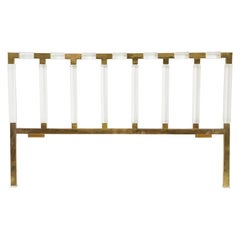 Charles Hollis Jones Lucite, Brass Headboard