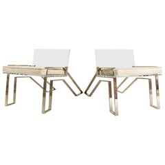 Charles Hollis Jones Lucite Chairs with Brazilian Cowhide Cushions, pair