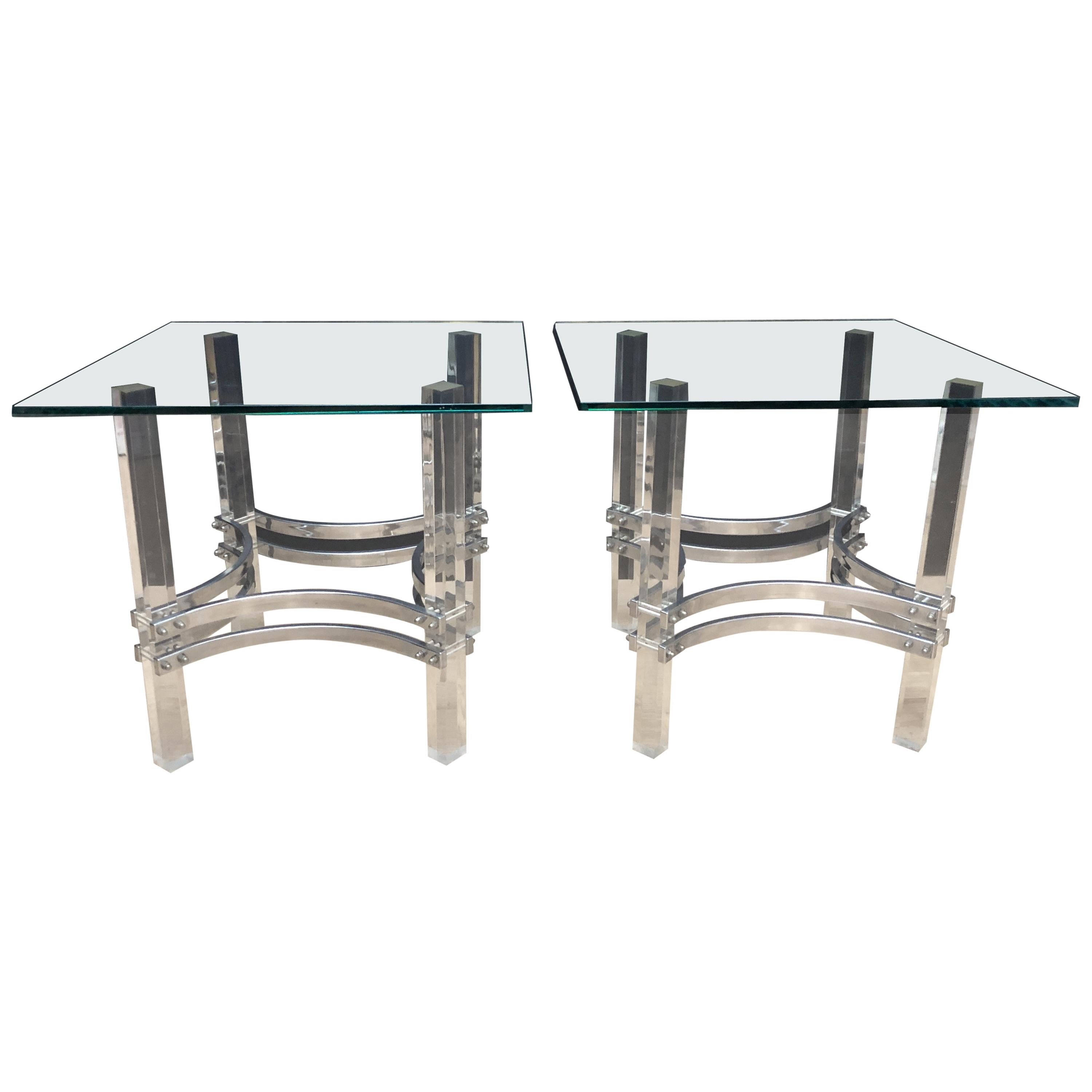 Charles Hollis Jones Lucite Chrome and Glass Side Tables