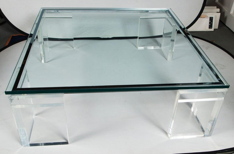 American Charles Hollis Jones Lucite Coffee Table For Sale