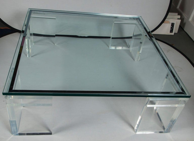 Polished Charles Hollis Jones Lucite Coffee Table For Sale