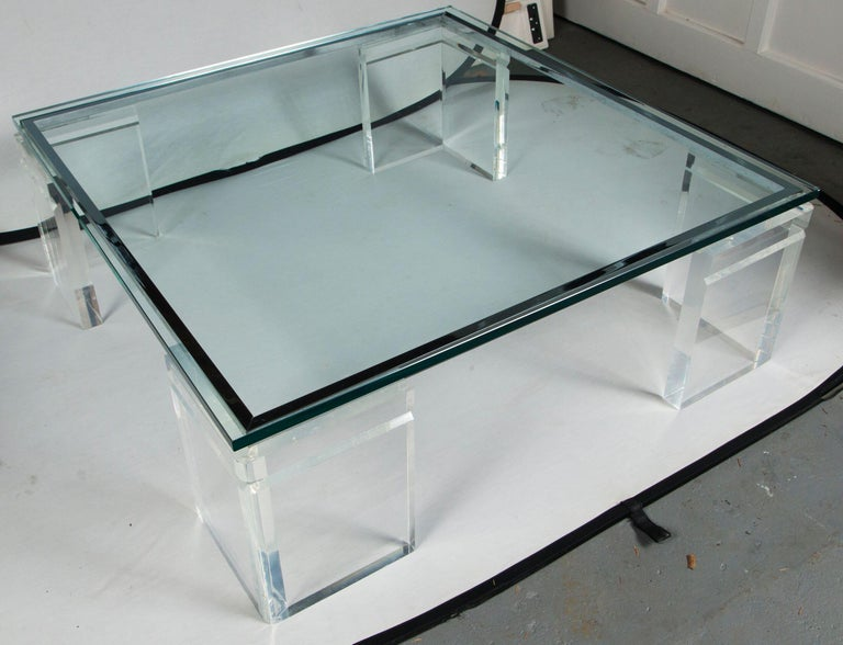 Charles Hollis Jones Lucite Coffee Table In Good Condition For Sale In Mt Kisco, NY