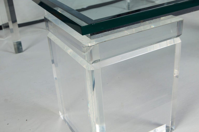 Late 20th Century Charles Hollis Jones Lucite Coffee Table For Sale