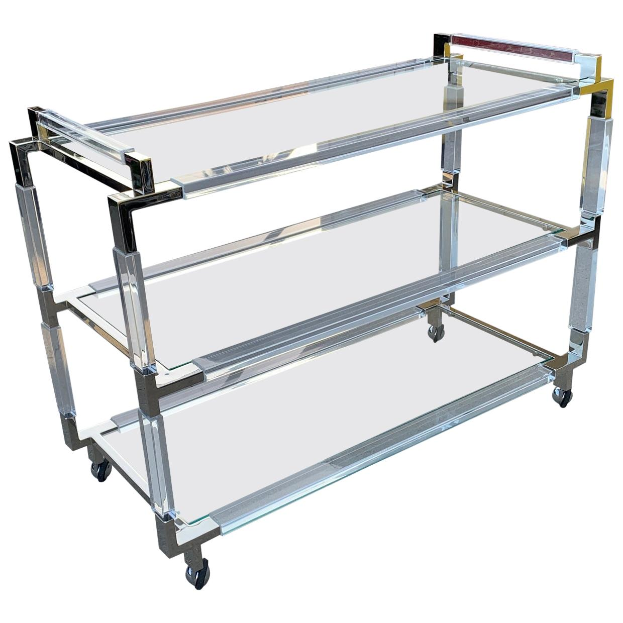 """Charles Hollis Jones Lucite & Nickel Bar Cart from the """"Metric"""" Collection"""