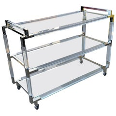 "Charles Hollis Jones Lucite & Nickel Bar Cart from the ""Metric"" Collection"