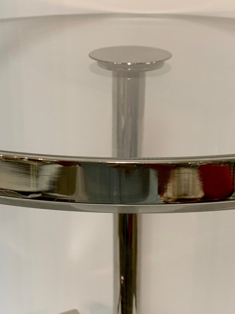 Metal Charles Hollis Jones Lucite Nickel Tripod Table For Sale