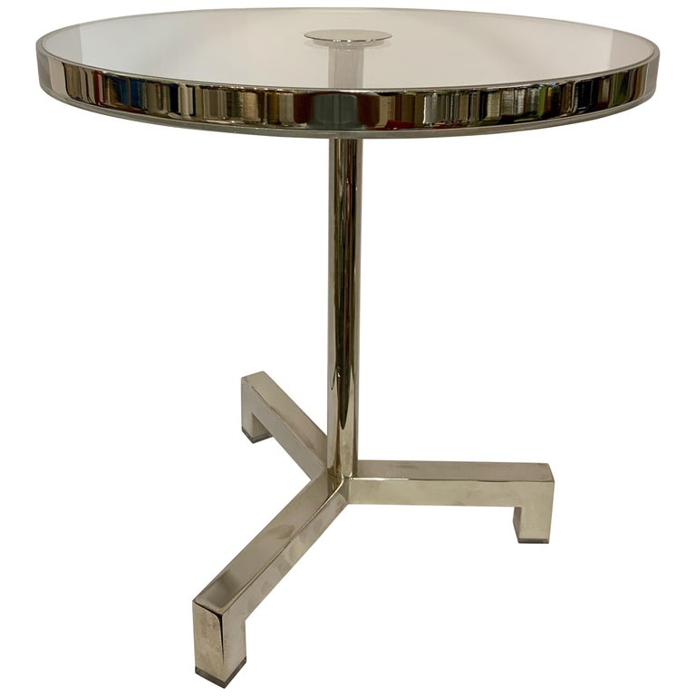Charles Hollis Jones Lucite Nickel Tripod Table For Sale